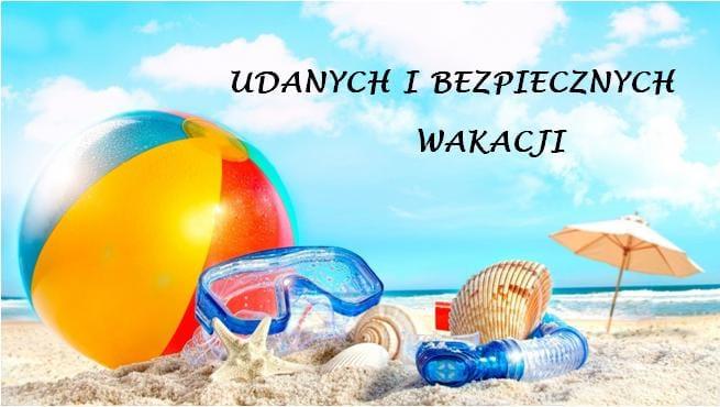rysunek przedstawiający plażę oraz napis bezpiecznych wakacji
